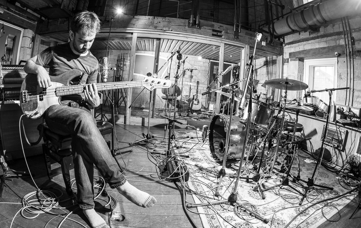 Phil King recording session at Real World Studios, 2015. Photo: Gorm Ashurst